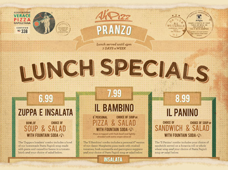 Ah' Pizz Lunch Specials